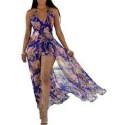 Women Sleeveless Halter V Neck Summer Party Romper Dress Floral Print Long Split Maxi Playsuit Jumpsuit Beach Sunress