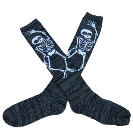 My Halloween Womens Long Gray Skeleton Print Knee Socks
