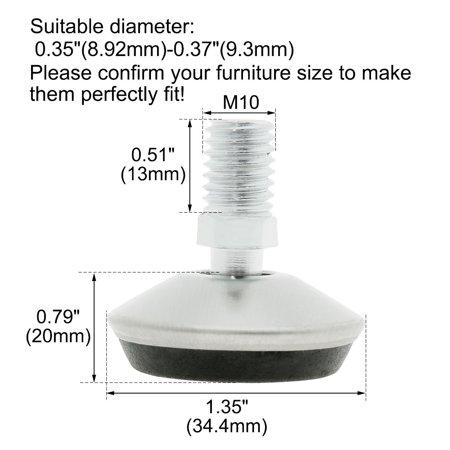 M10 x 13 x 34.4mm Leveling Feet Adjustable Leveler for Machine Cabinet Leg 4pcs - image 6 of 7