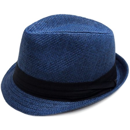 Summer Sun Short Brim Straw Fedora Hat, 756_Navy SM