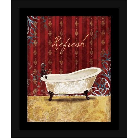 Pattern Framed - Refresh Vintage Bath Tub Traditional Pattern Painting Red & Tan, Framed Canvas Art by Pied Piper Creative