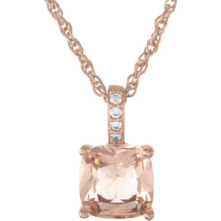 Sterling Silver Plated with 14kt Gold Flash Plating Simulated Morganite and CZ Cushion Earring and Pendant 2-Piece - Gold Flash Plating