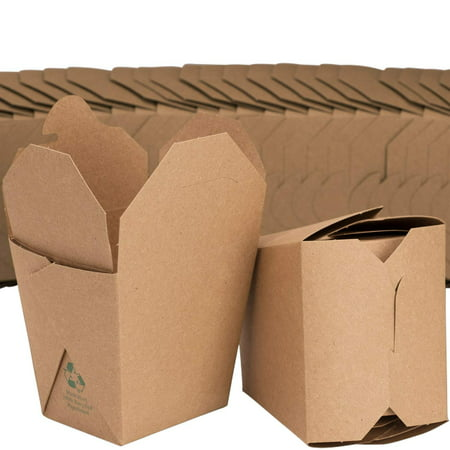 Restaurant Grease - Microwavable Brown Chinese 16 oz Take Out Boxes. 50 Pack by Avant Grub. Stackable Pails Are Recyclable. Ideal Leak And Grease Resistant Pint Size To Go Container For Restaurants and Food Service.