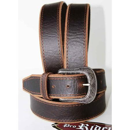 Unisex Full Grain Cowhide 100% Leather Casual Dress Belt Brown 2608RS2804 Double Gusset Full Grain Cowhide