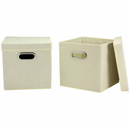 Household Essentials Cube Set with Lids, 2pk, Natural