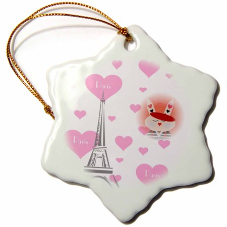 3dRose French Bunny Surrounded by Hearts and Eiffel Tower, Snowflake Ornament, Porcelain, 3-inch - Bunny French