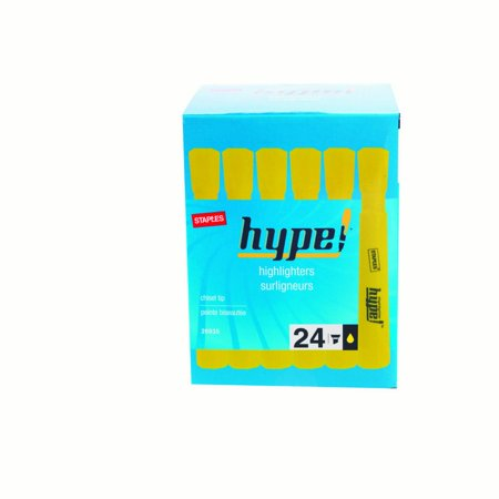 Staples Hype  Tank Highlighter  Chisel Tip  Yellow  24 Pack