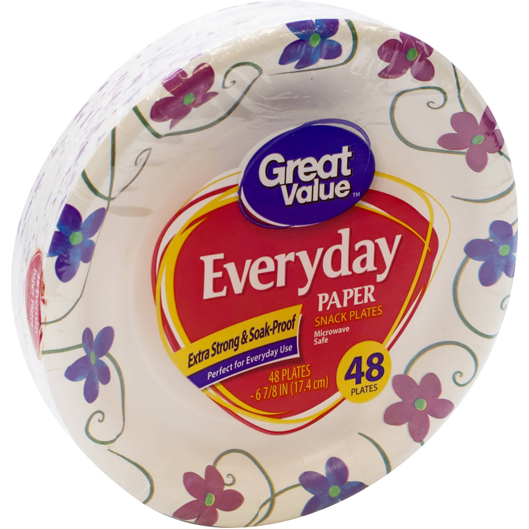Great Value Snack Plates, 6.875 Inch, 48ct
