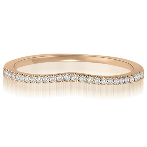0.15 CT.TW Curved Petite Round Cut Diamond Wedding Ring in 14K White, Yellow Or Rose Gold