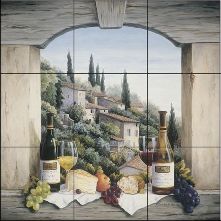 Ceramic Tile Mural - Still Life in the Italian Hills - by Barbara Felisky - Kitchen backsplash / Bathroom shower Accent Ceramic Tile Mural Art
