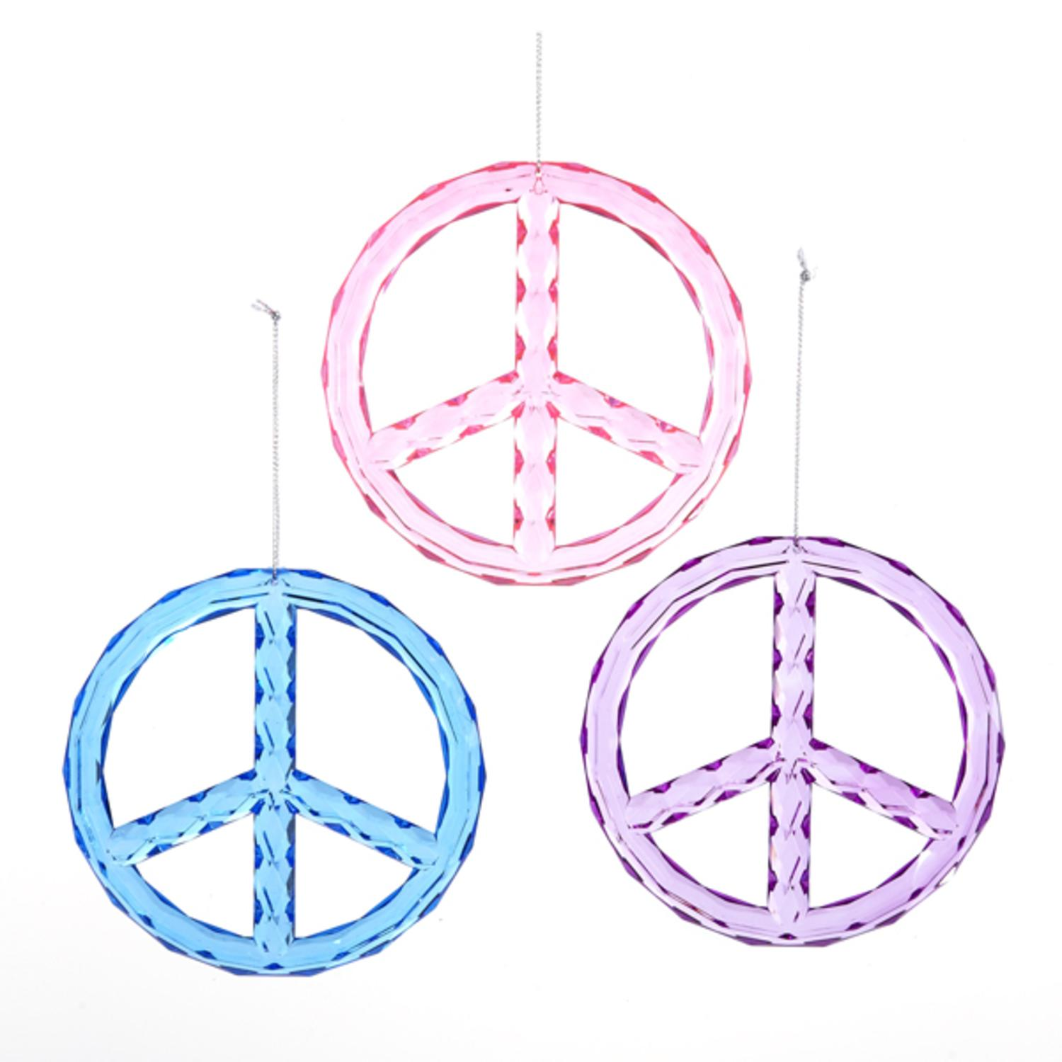 pack of 12 pink blue and purple peace sign christmas