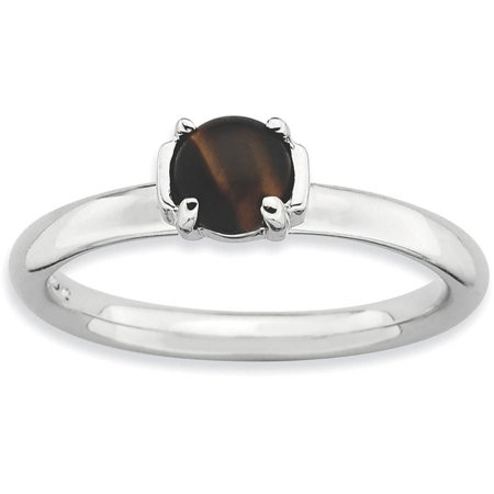 Tigers Eye Sterling Silver Rhodium-Plated Ring