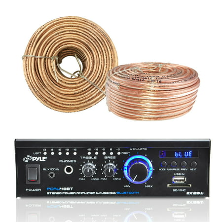 Pyle Pcau48bt Amplifier Receiver With Bluetooth Usb Sd Readers Aux Cd Inputs   Led Display  Enrock Audio 18 Awg Gauge 100 Feet Speaker Wire Cable