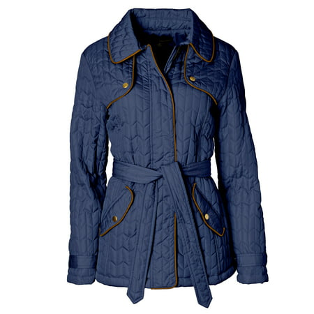 (Women's Quilted Belted Zip-Front Jacket)