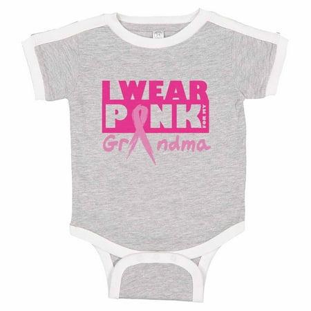 """Kids Cute Baseball Onesie """"I Wear Pink For My Grandma"""