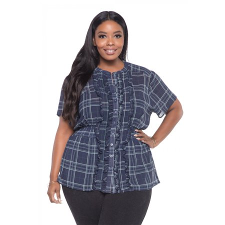 Ruffled Button Down Chiffon Smocked Waist Plus Size Blouses For Women - Plaid