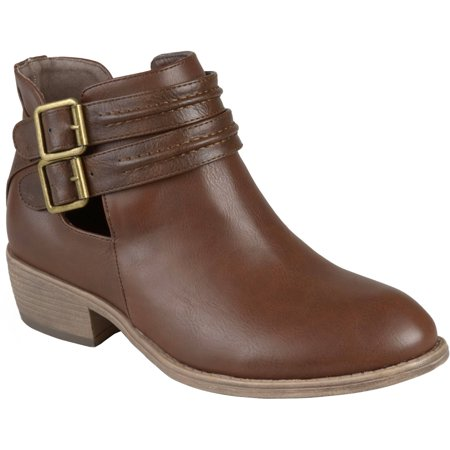 Women's Faux Leather Side Slit Buckle - Brown Leather Western Boots