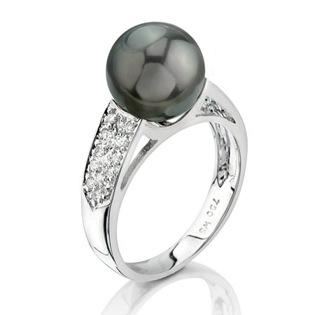 9mm Cultured Pearl Ring (9mm Tahitian South Sea Cultured Pearl & Diamond Alexa Ring in 14K)