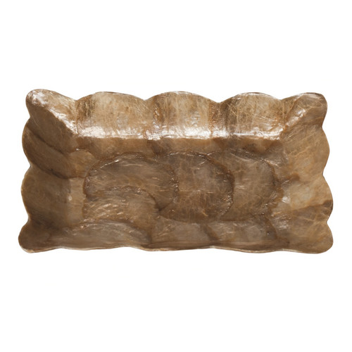 Dekorasyon Gifts & Decor Capiz Mini Rectangular Tray with Scalloped Edge