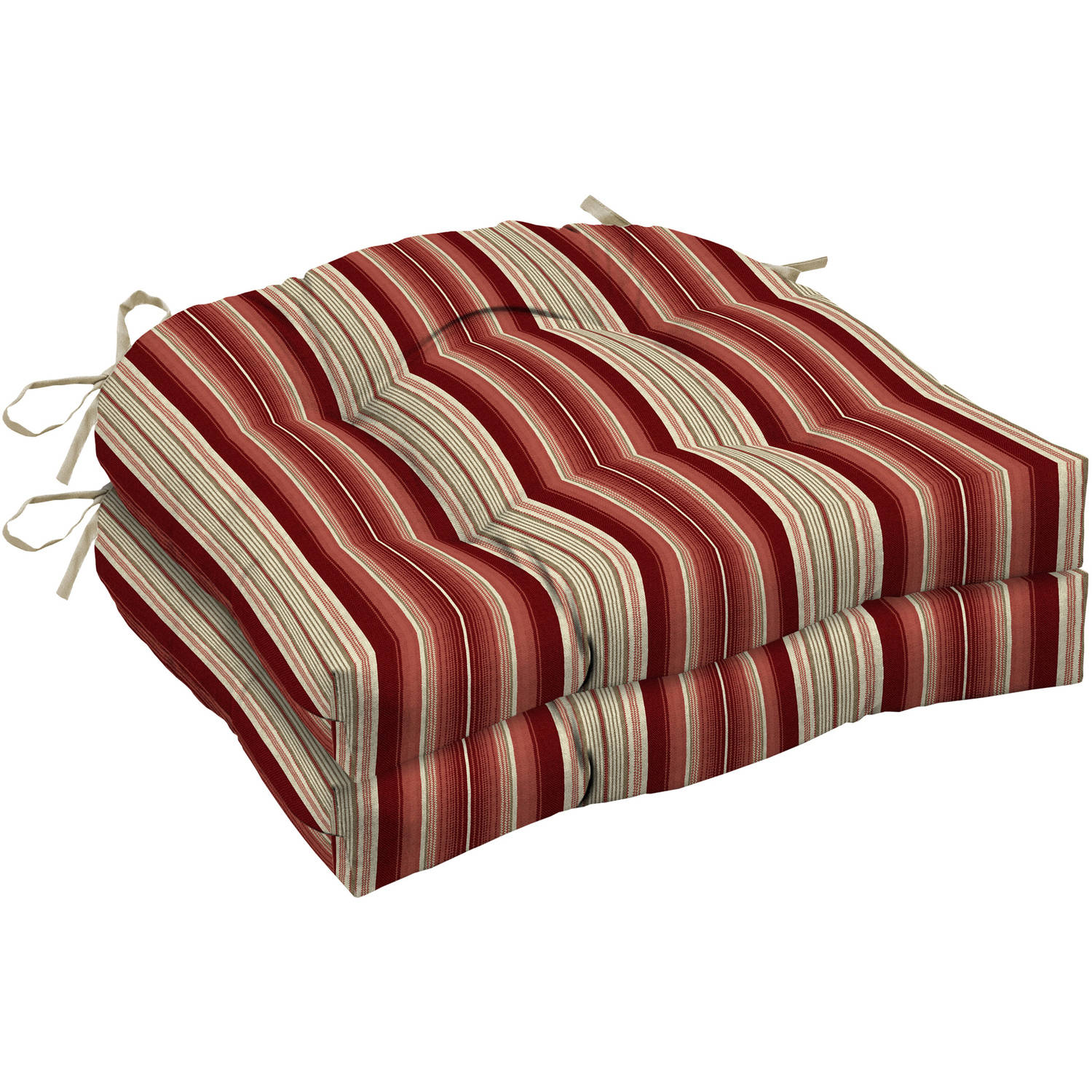 Better Homes and Gardens Outdoor Patio Wicker Seat Cushion, Set of Two, Multiple Patterns