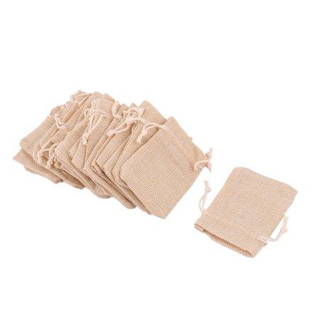 Dorm Cotton Linen Sundries Coin Ring Necklace Holder Drawstring Bag Khaki 25 Pcs (Coin Necklace Holder)