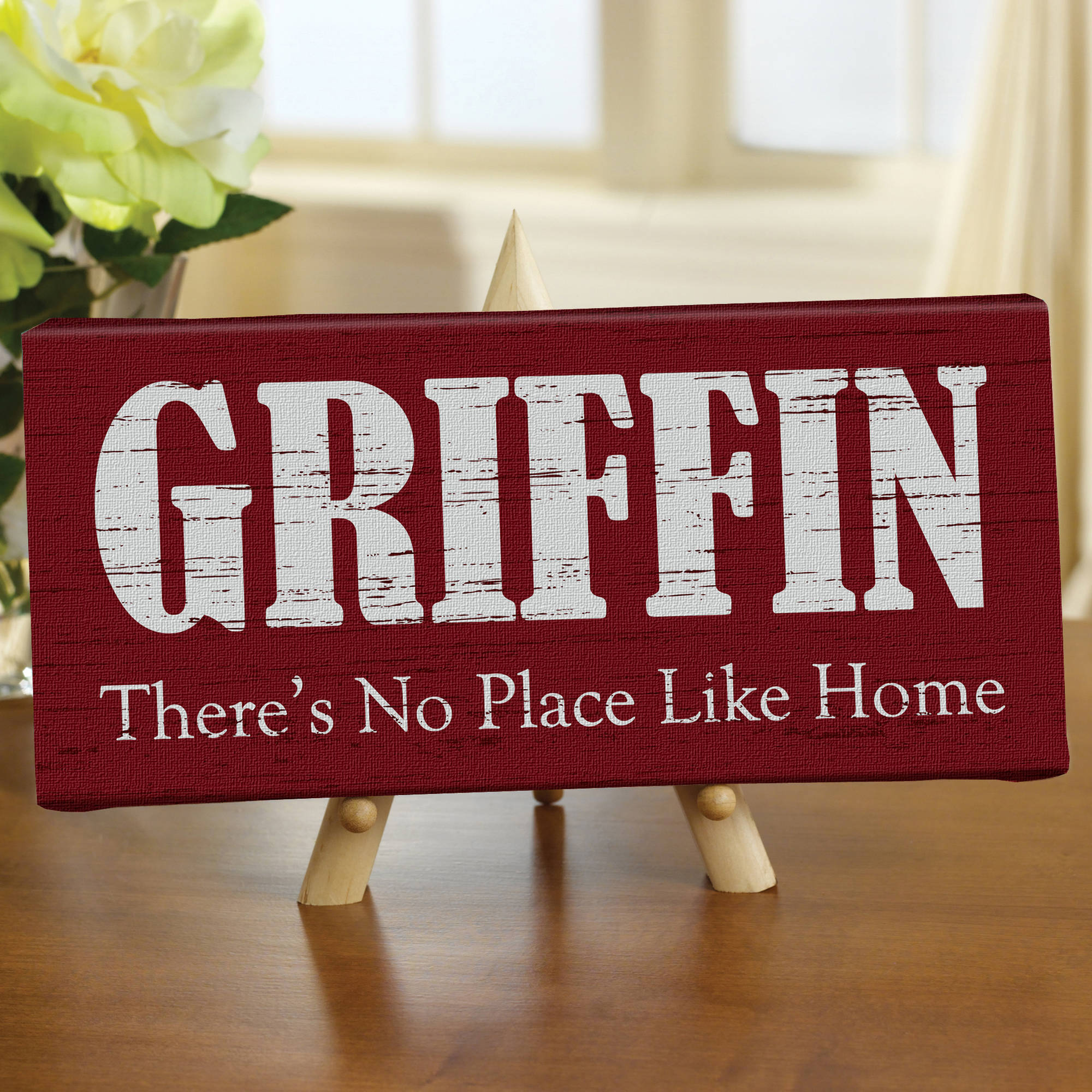 "Personalized ""There's No Place Like Home"" Canvas, 5"" x 11"", Available in Different Colors"