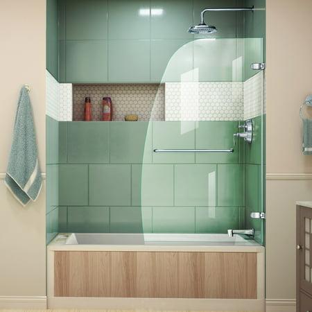 Dreamline Aqua Uno 34 In W X 58 H Frameless Hinged Tub Door