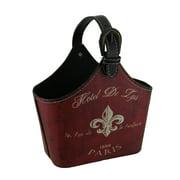 Red Faux Leather Vintage Hotel Decorative Fleur De Lis Storage Bag Basket