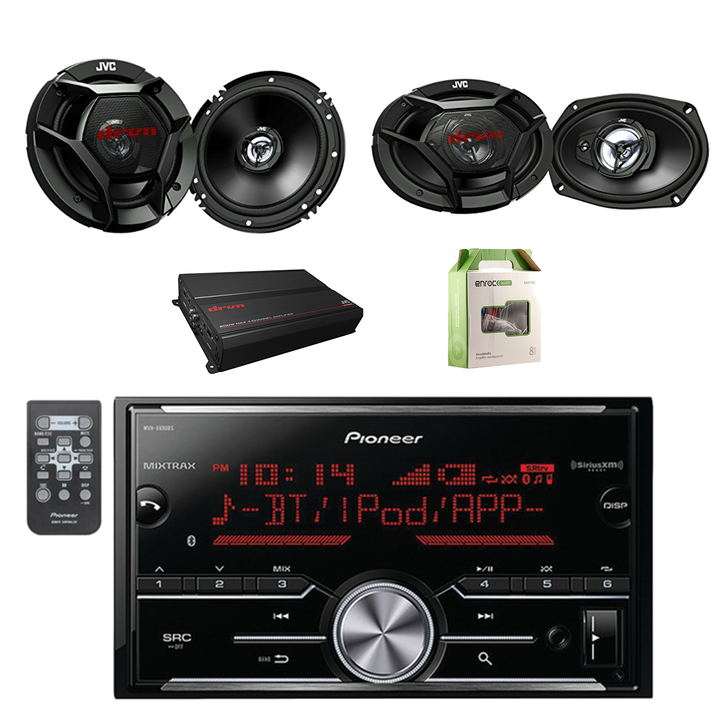 "Pioneer Vehicle Digital Media 2DIN Receiver W/Bluetooth with JVC 6.5"" Car Audio 2Way Speakers System Pair, JVC 6.9"" 3Way Speakers Pair, JVC Power Amplifier & Enrock Amplifier Wiring Installation Kit"