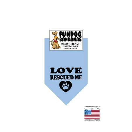 MINI Fun Dog Bandana - Love Me Sauvée (encre noire) - Taille miniature pour petits chiens de moins de 20 lbs, écharpe animal bleu clair