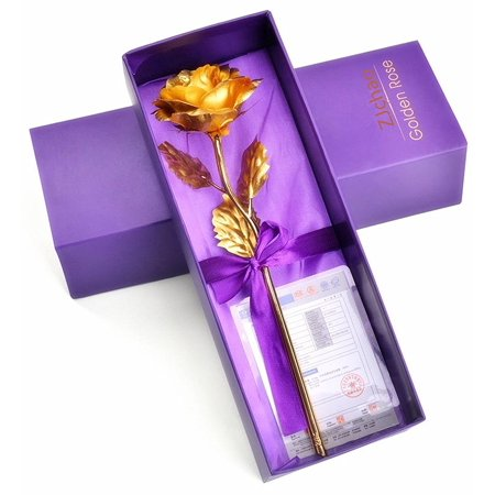 ZJchao Long Stem 24K Yellow Gold Foil Collectible Rose Flower ,Great Gift for Valentine's Day, Mother's Day, Anniversary, Birthday or Christmas ()