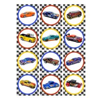 Hot Wheels Mattel Checkered Race Car Edible Cupcake Toppers