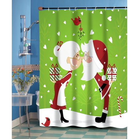 Kissing Mr. & Mrs. Santa Claus Christmas Fabric Shower Curtain ...
