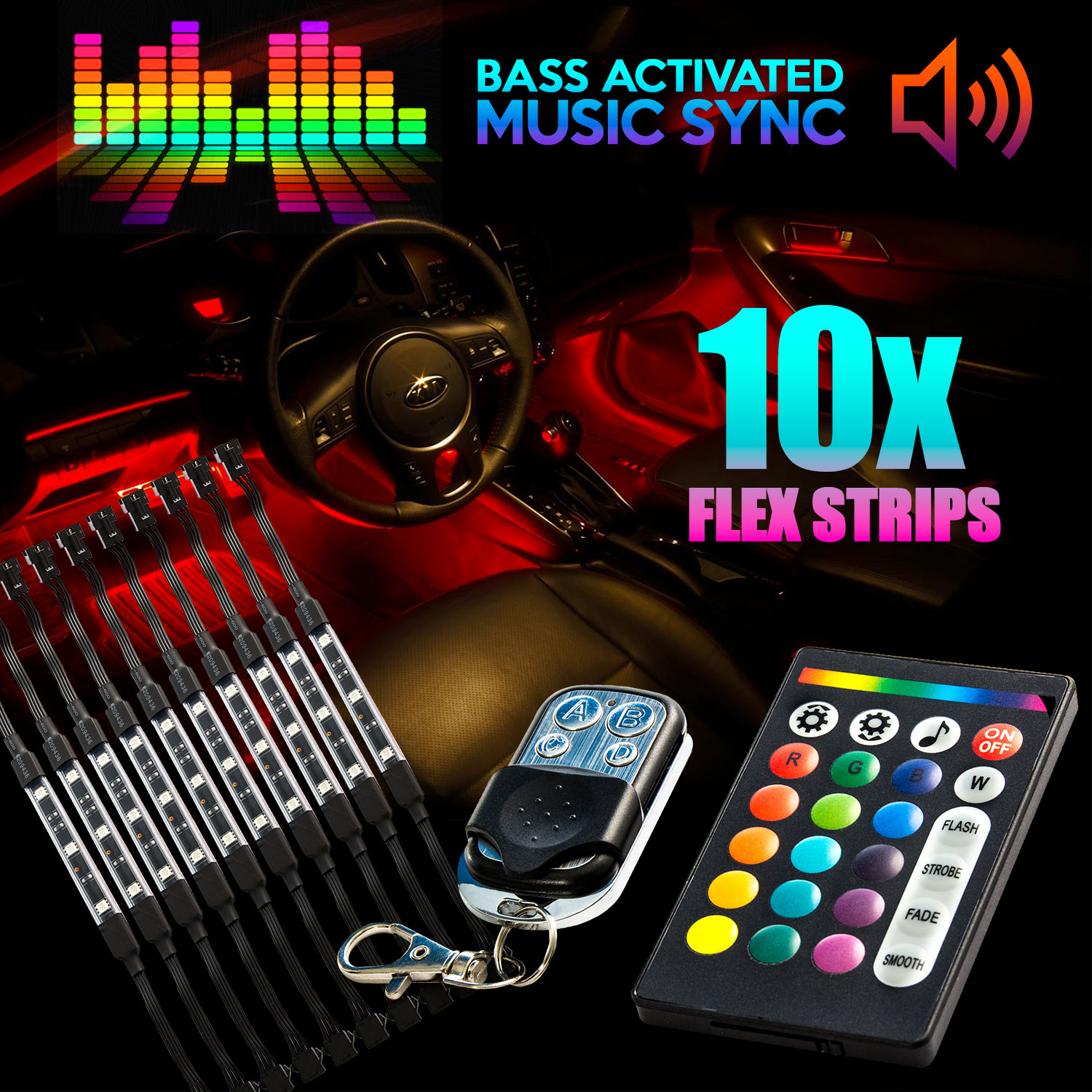 18 Color 10pcs RGB Motorcycle ATV Flexible Strip LED Light Lamp NEON Remote Kit for Victory Cross Country - image 4 de 4