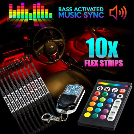 18 Color 10pcs RGB Motorcycle ATV Flexible Strip LED Light Lamp NEON Remote Kit for Harley Davidson Street