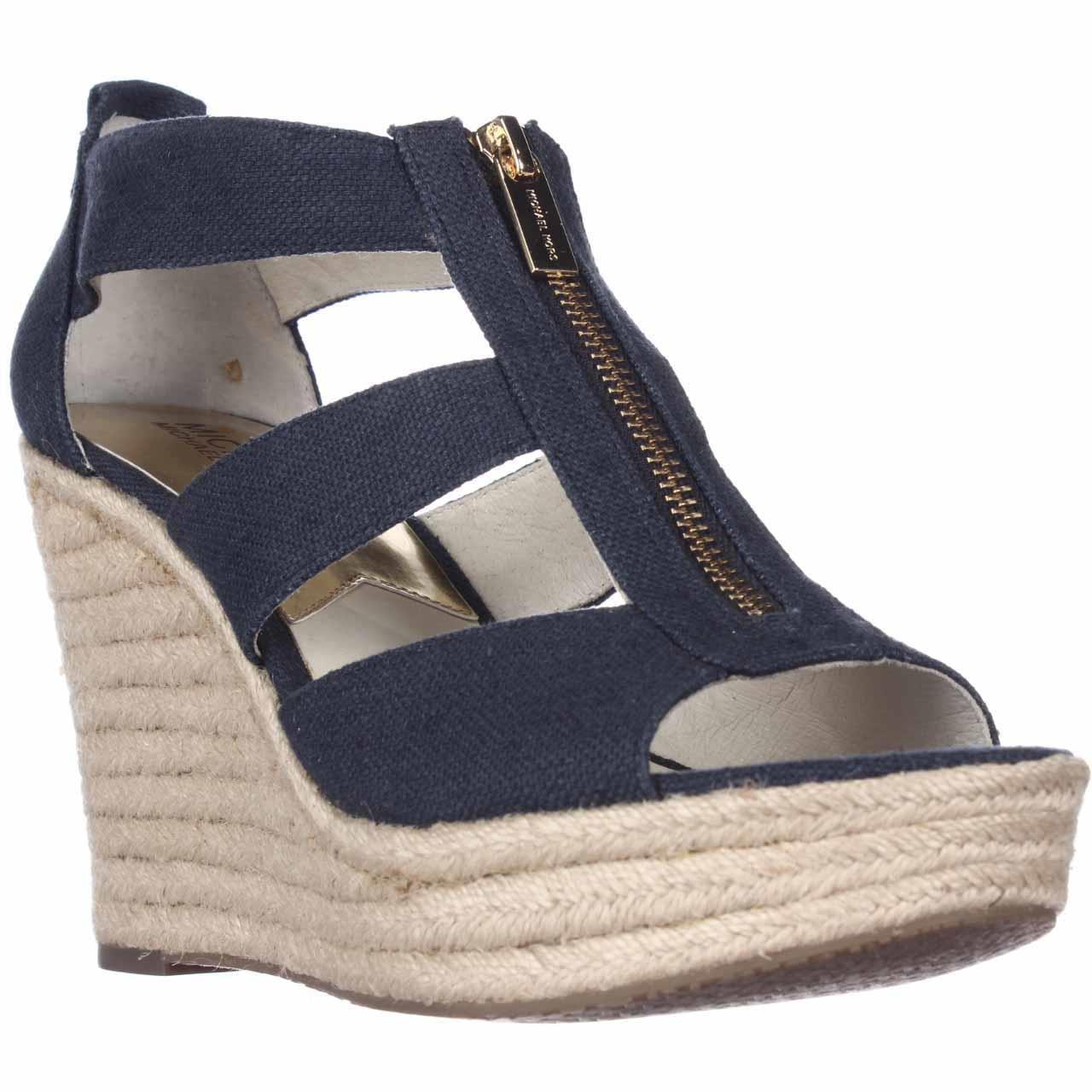 Michael Kors Damita Wedge Women US 8 Blue Wedge Sandal, Women's