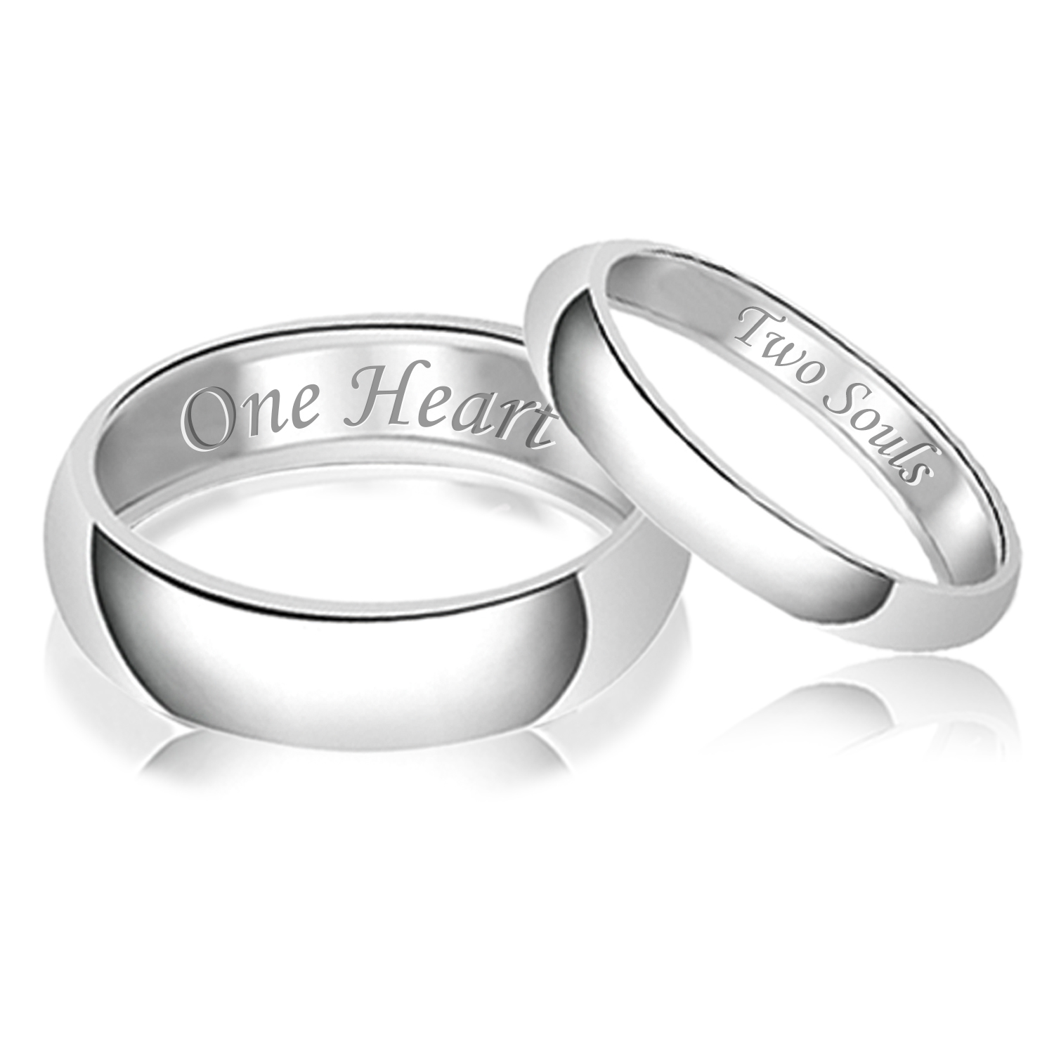 Tioneer His Her Engraved Two Souls One Heart Classic Sterling