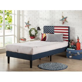 Zinus Upholstered USA Flag Design Platform Bed