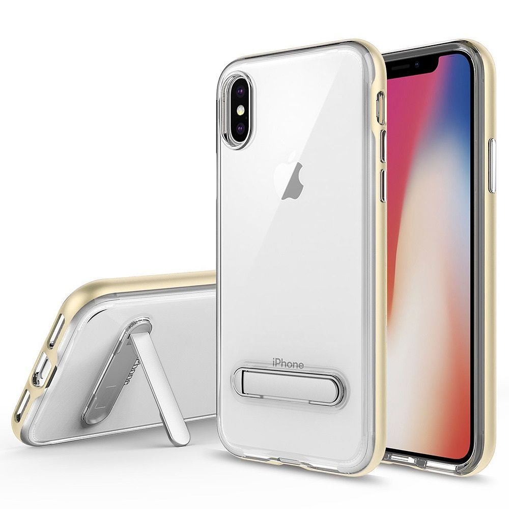 iPhone X Case,by Insten Crystal Clear Hard Ultra Slim fit Anti Scratch Bumper with Built-in Magnetic Metal Kickstand Hybrid TPU PC Protective Case for iPhone X, Clear/Gold(Combo with Mirror Glass SPT) - image 3 of 3