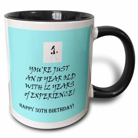 3dRose Happy 30th birthday. blue. funny quote. saying. - Two Tone Black Mug, 11-ounce - Funny Happy Halloween Sayings