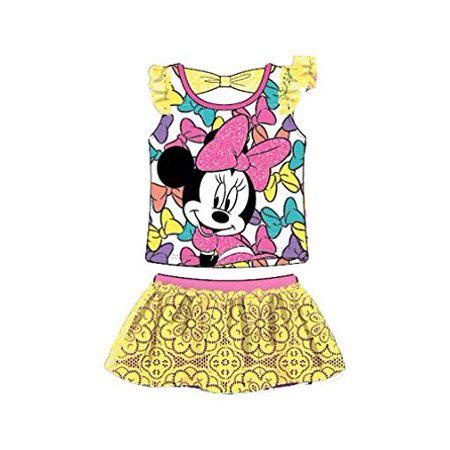 [P] Disney Youth Girls' Minnie Mouse In Bows Mesh Sleeve T Shirt and Laced Skirt Outfit SZ7
