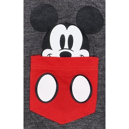 Girls Mickey Mouse Pocket T-Shirt Gray - image 1 de 2