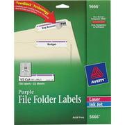 Avery Permanent File Folder Labels, TrueBlock, Inkjet/Laser, Purple Border, 750/Pack