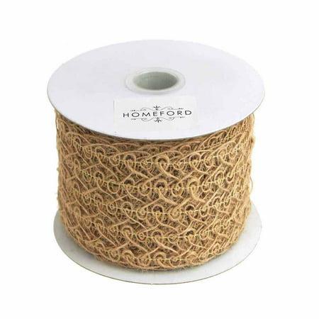 Open Weave Swirl Mesh Jute Ribbon, Natural, 2-1/2-Inch, 10 Yards