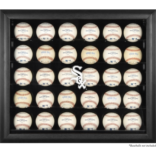 Chicago White Sox Logo Black Framed 30-Ball Display Case