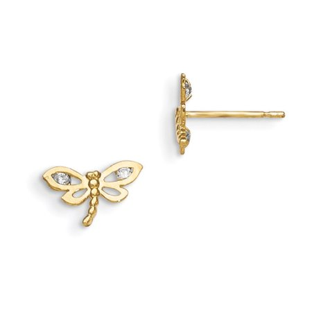 Dragonfly Post Earring (14k Yellow Gold Madi K Cubic Zirconia for boys or girls Dragonfly Post Earrings )