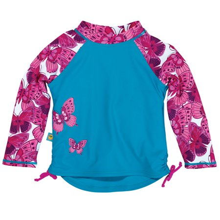 Sun Smarties Baby and Toddler Girl Rashguard - Blue, Red, and Pink - Long
