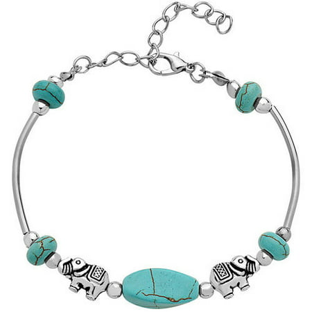 3 Stone Tanzanite Bracelet (Turquoise Stone 18kt White Gold-Plated Elephant Bracelet, 7.5 with 1)