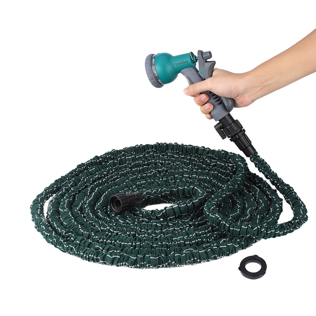 Nozzle Expandable Flexible Garden Water Hose Latex hose pipe Green US