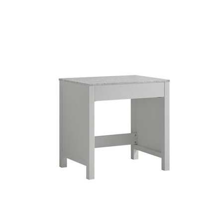 Lexora LJ302230ADSMTB 30 in. Jacques Single Make-Up Table with White Carrera Marble Top - (Marble Top Single)